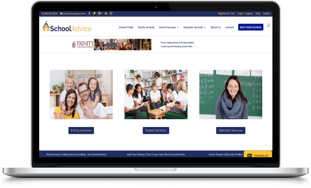 Schooladvice Sparrow Digital Web design Client